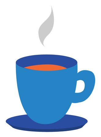 Clipart of a blue teacup and saucer filled with the hot steaming tea is all set ready to be enjoyed by someone, vector, color drawing or illustration. Ilustração