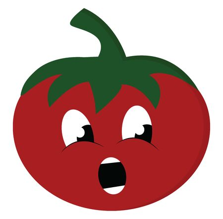 Emoji of a red tomato topped with a stout green stalk stare at someone to the left with the mouth agape while standing, vector, color drawing or illustration. Иллюстрация