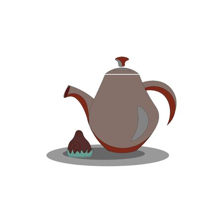 Clipart of a brown teapot equipped with a lid, a spout, a handle to carry easily stands next to chocolate symbolize evening tea time, vector, color drawing or illustration. 写真素材 - 132679295