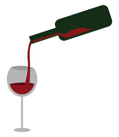 Red wine being poured into a transparent glass, vector, color drawing or illustration. Ilustração
