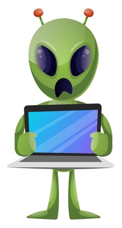 Alien with laptop, illustration, vector on white background.