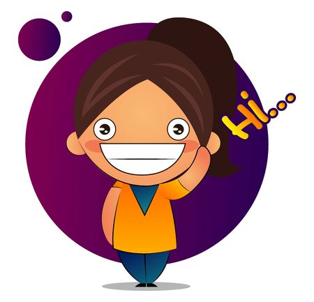 Girl with brown ponytail says hi, illustration, vector on white background.