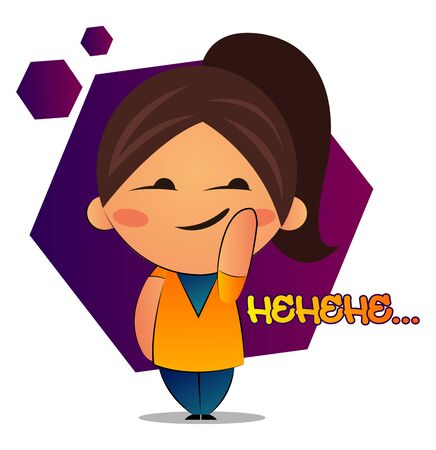 Girl with brown ponytail says hehehe, illustration, vector on white background. Illustration