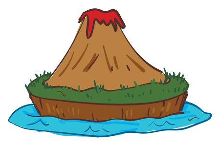 Clipart of island volcano exploding in fiery when molten rock, ash, and steam pour through a vent in the earths crust, vector, color drawing or illustration.