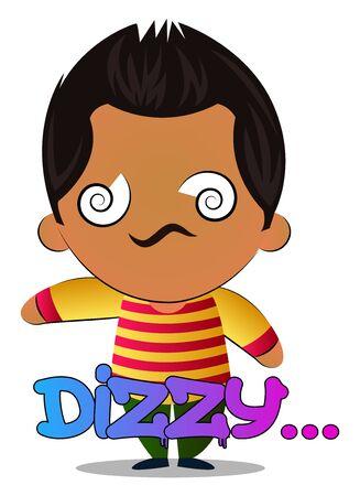 Boy is feeling dizzy, illustration, vector on white background. Фото со стока - 132689062