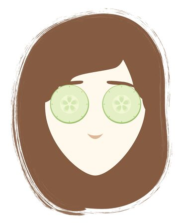 A colour illustration of a girl wearing a beauty face mask, vector, color drawing or illustration. Stock Illustratie