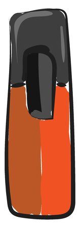 A big, thick orange colored marker having black colored cap used for highlighting things in a written text, vector, color drawing or illustration.