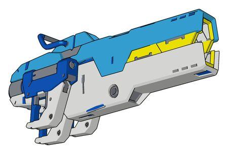 Pistola laser, illustrazione vettore su sfondo bianco. Vettoriali