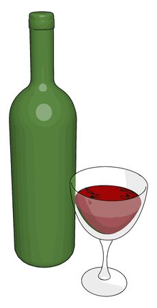 Glass of wine, illustration, vector on white background.