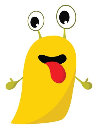 Clipart of a yellow monster with tongue hanging out, hands stretched out and projecting eyes rolled down looks happy, vector, color drawing or illustration.  イラスト・ベクター素材