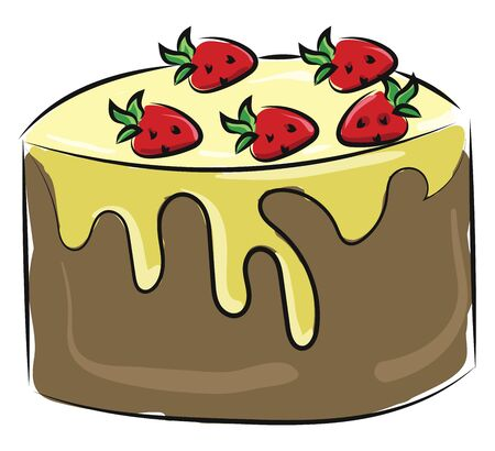 A big cake with yellow frosting and strawberry toppings, vector, color drawing or illustration.