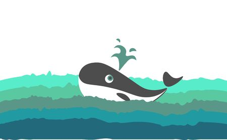 Painting of a black and white-colored whale with a streamlined, torpedo-shaped body and few droplets of water splashed while the sea fish swimming, vector, color drawing or illustration.