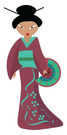 A Japanese woman wearing kimono and having a hand fan in her hand, vector, color drawing or illustration. Stock Illustratie