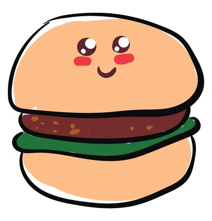 A burger is a sandwich consisting of fried or grilled meat, usually beef, and often other ingredients such as cheese, onion slice, lettuce, and other items, vector, color drawing or illustration.
