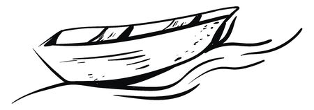 This is a sketch of a boat. , vector, color drawing or illustration. 向量圖像