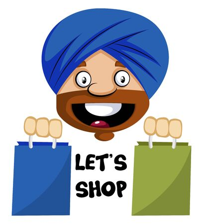 Muslim human emoji with shopping bags, illustration, vector on white background.