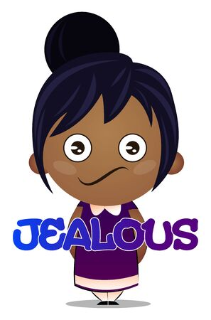 Little girl is feeling jealous, illustration, vector on white background. Illustration