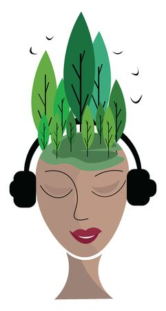 A woman listening to music with head phones and with trees on her head, vector, color drawing or illustration.
