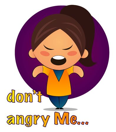 Girl with brown ponytail says don't angry me, illustration, vector on white background.
