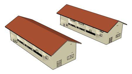 Hangar building, illustration, vector on white background.