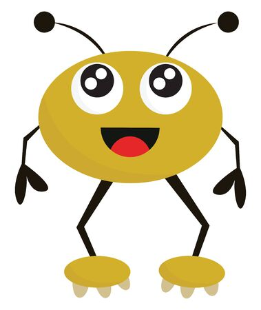 Clipart of a happy yellow monster with a round face, two horns, eyes rolled up is standing, and tongue stuck out while standing , vector, color drawing or illustration.
