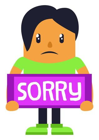 Man apologising, illustration, vector on white background. Ilustracja