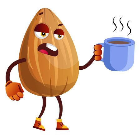 Almond drinking his first coffee in the morning, illustration, vector on white background. 일러스트
