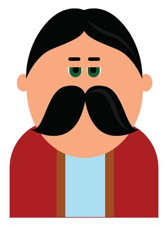 A man with big thick drooping moustache wearing red colored coat, vector, color drawing or illustration.