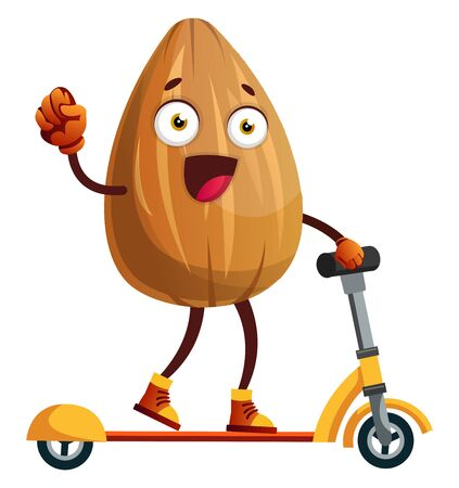 Almond on a yellow scooter, illustration, vector on white background.