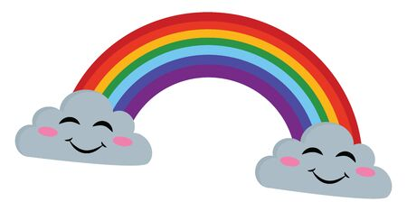 Rainbow emerging from two clouds with smiling faces, vector, color drawing or illustration.