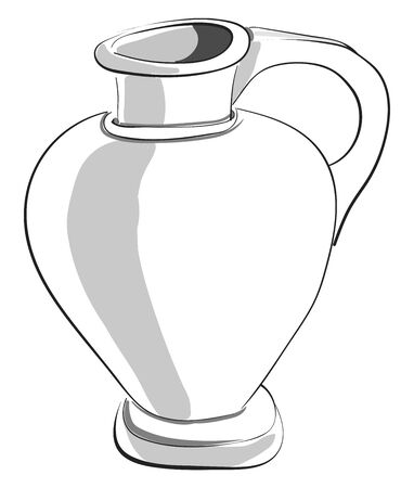 Painting of a large jug with a flat base, a handle, and a very narrow-raised opening at the top for pouring the liquid filled in, vector, color drawing or illustration.