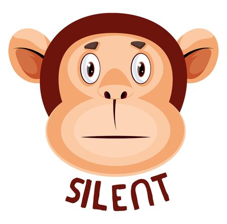 Monkey is silent, illustration, vector on white background. Banque d'images - 132772869