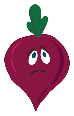 A purple colored beetroot with green leaves, two eyes and a frown, vector, color drawing or illustration.