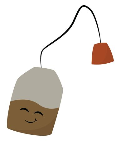 Tea bag filled with tea leaves with black thread and smiling face, vector, color drawing or illustration.