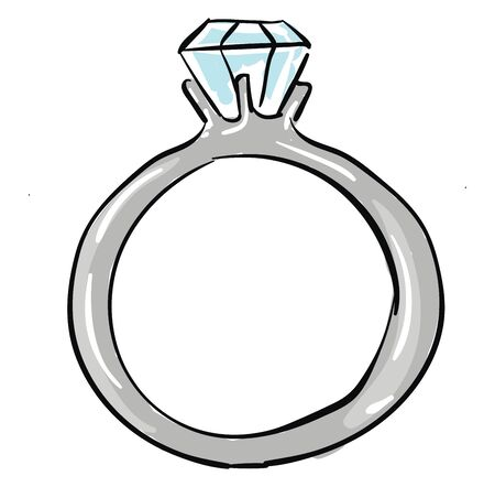 Painting of a white diamond ring serves as the perfect engagement ring through the dual features of high-quality diamonds and expert jewelry craftsmanship, vector, color drawing or illustration.