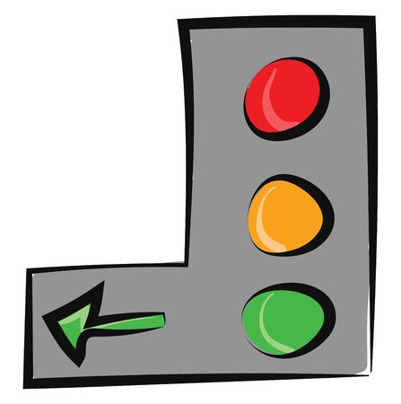 Painting of the vertical traffic signal board with three separate light bulbs in red, yellow and green and a left green arrow, vector, color drawing or illustration. Vektorgrafik