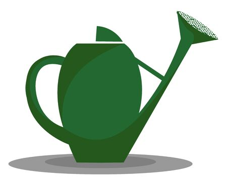 A green-colored watering pot with a long spout and a detachable perforated cap for watering plants in the garden or environment, vector, color drawing or illustration.