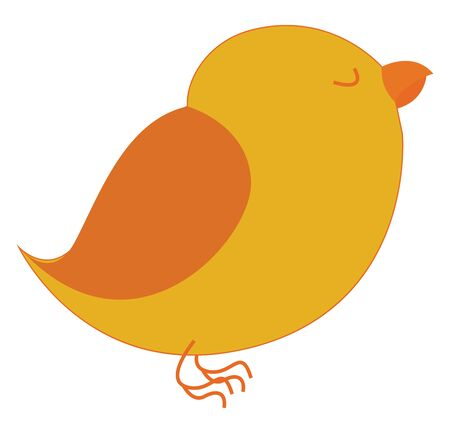 A sleeping yellow bird color illustration with orange beak and wings, vector, color drawing or illustration.