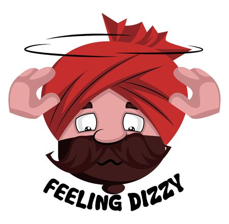 Man with turban is feeling dizzy, illustration, vector on white background.