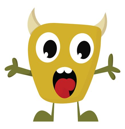 A yellow monster with a rectangular-shaped body, two small horns, eyes rolled down, hands wide open, two white teeth and a tongue exposed, vector, color drawing or illustration.