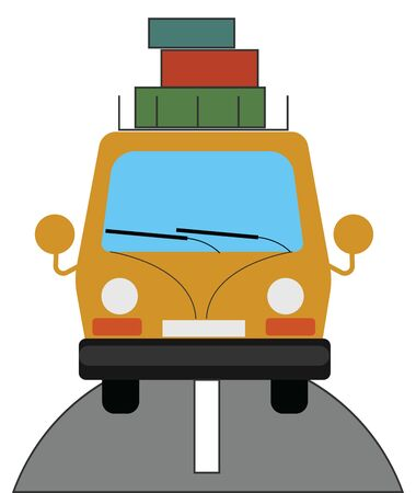 A yellow car with a lot of luggage on it. It is going on a long trip, vector, color drawing or illustration. Ilustração