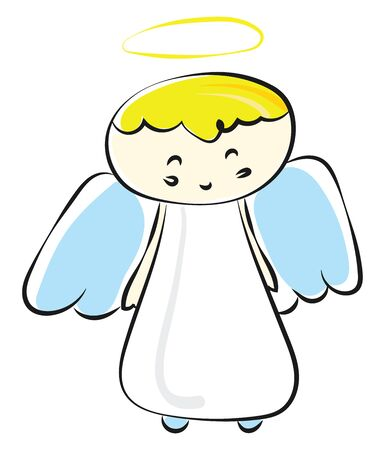 Angels are supernatural beings, and they are God's messenger and servants sent to earth for protecting and guiding human beings., vector, color drawing or illustration.