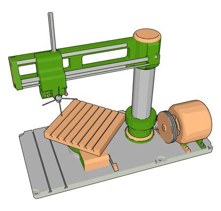 Factory machine tool, illustration, vector on white background. Illustration
