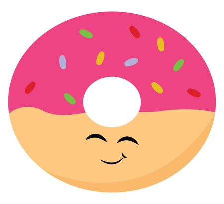 A color illustration of a pink colored doughnut with colorful sprinkles, vector, color drawing or illustration.