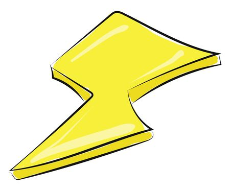 Drawing of yellow colour lightning, vector, color drawing or illustration.