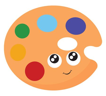 Brown palette with two sparkling eyes and a smiley with six colors, vector, color drawing or illustration.