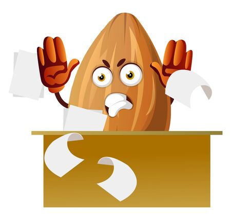 Angry almond sitting behind desk ,papers flying around, illustration, vector on white background.
