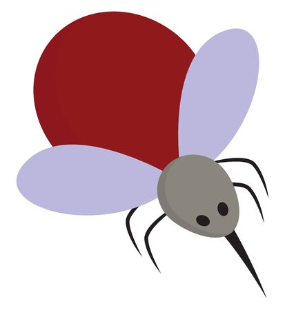 A mosquito red in color with two wings and a sharp sting, vector, color drawing or illustration.