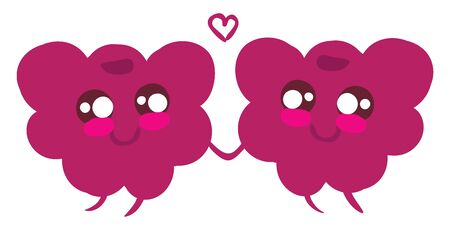 Two tiny cute raspberries purple in color holding each others hands and beautiful heart between them, vector, color drawing or illustration.
