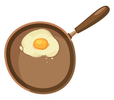 A half fried egg on a frying pan with a brown handle. Ready for breakfast, vector, color drawing or illustration.